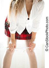 klatkowy, od, koszula, wpływy, kobieta, czerwony biel, poła, rondel, koronka