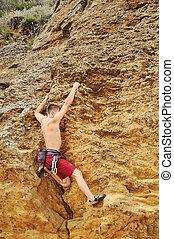 klatre, på, gyngen