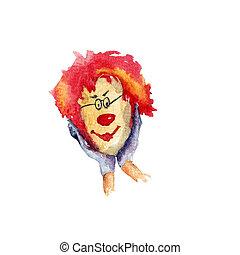 klaun, barva vodová, ilustrace