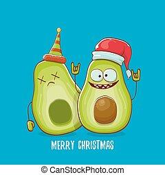 klaus, poszter, háttér., köszönés kártya, vektor, kék, betű, beijedt, vidám, szent, övé, furcsa, avokádó, manó, fél, barát, karácsony, chirstmas, sablon, tervezés