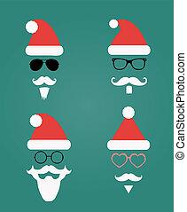 klaus, silhouette, icônes, mode, hipster, santa, style