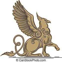 klauw, griffin, mythisch, body., -, vleugels, adelaar,...