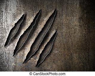 klauw, krassen, tekens, op, verroest metaal, schaaltje