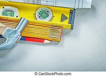 klauwhamer, bouwsector, niveau, houten, meter, blauwdruken, potlood, op