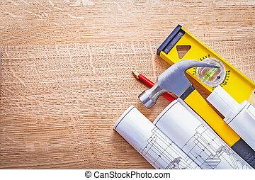 klauwhamer, gerolde, blauwdruken, niveau, plank, bouwsector, concept
