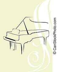 klavír, dále, ta, ozdobný, grafické pozadí