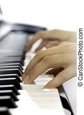 klavír hraní, eny, ruce, detail
