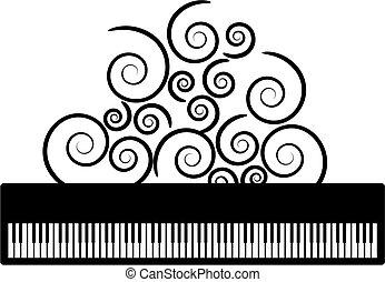 klavír, s, swooshes, vektor