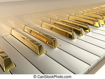 klavír, zlatý