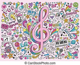 klav, musik, doodles, noteringen, häftig