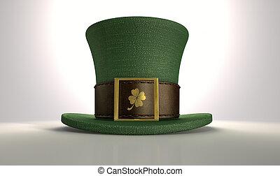 klaver, leprechaun, groene hoed