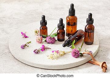 klavertje, bloemen, medisch, medicine., bottles., keukenkruiden, rosebay, oliën, tansy, alternatief, milfoil, essentieel