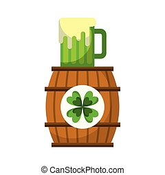 klavertje, houten, glas, bier, drank, vat