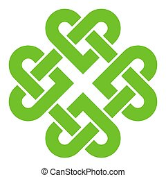 klavertje, keltisch, 4-leaf, stijl, knoop
