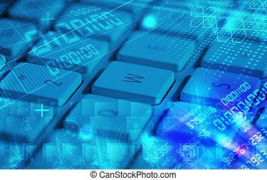 klaviatur, hos, glødende, programmering, koder