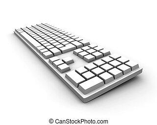 klaviatur, -, hvid