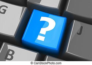 klaviatur, spørgsmål, blå, nøgle