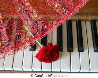 klavier, fächer, rotes , &, rose