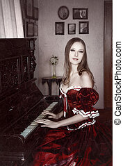 klavier, frau