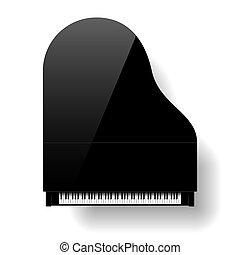 klavier, großartig, schwarze oberseite, ansicht