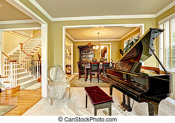 klavier, großartig, zimmer, familie, luxus