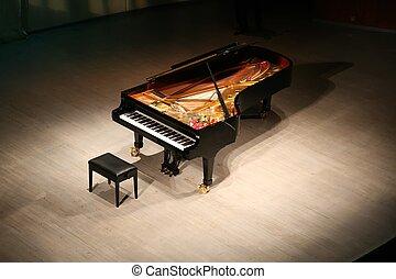 klavier, mit, strauß blumen, auf, szene, in, konzertsaal