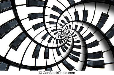 klavier tastatur, gedruckt, musik, abstrakt, fractal,...