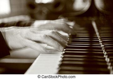 klavier, verwischt, hände