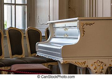 klavier, weißes, altes , lebensunterhalt, großartig, interior., room., weinlese
