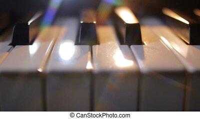 klawiatura, ciemny, piano, ruch, tło