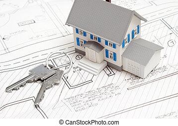klawiatura, dom, nowy