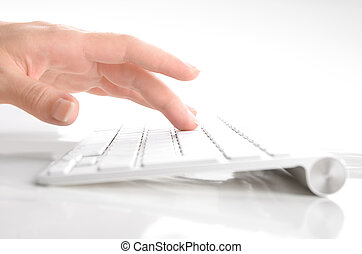 klawiatura, kobieta, ręka, pisząc na maszynie