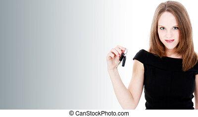 klawiatura, kobieta wozu