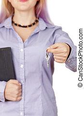 klawiatura, kobieta, zawiera, poza