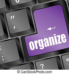 klawiatura, organizować, słowo, klucz, komputer