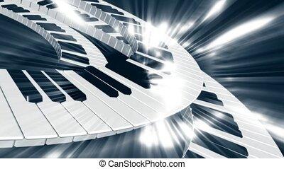 klawiatura, ruch, piano