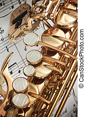 klawiatura, saksofon, closeup