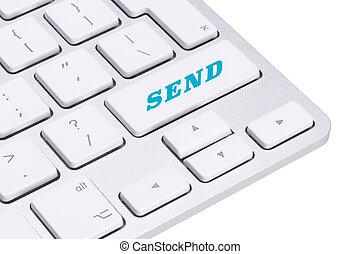 klawiatura, z, wysyłać, guzik, internet, pojęcie