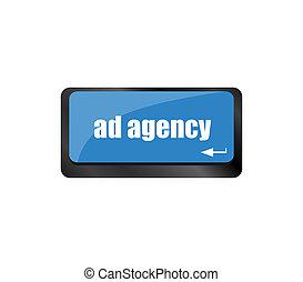 klawiaturowy komputer, reklama, słowo, ad, pośrednictwo, concept: