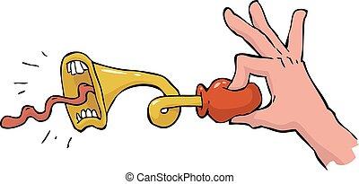 The hand presses the klaxon vector illustration