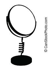 kledende tafel spiegel, silhouette, isolatie