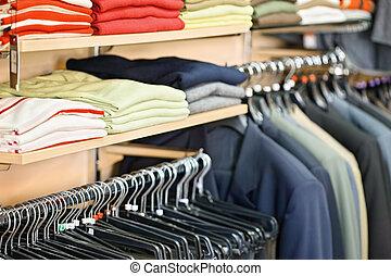kleding, in, de, winkel