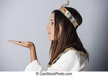 kleding, meisje, het poseren, jonge, egyptisch