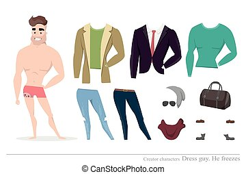 kleding, men., character., constructor, stellen