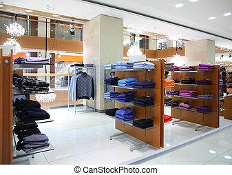 kleding, op, shelfs, in, winkel