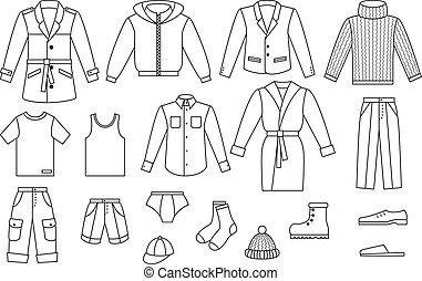 kleding, schets, verzameling, mens