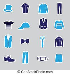 kleding, stickers, eps10, mens