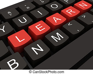 klee, leren, toetsenbord, internet, computer, concept, opleiding