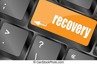 klee, met, herstel, tekst, op, draagbaar computer toetsenbord, knoop