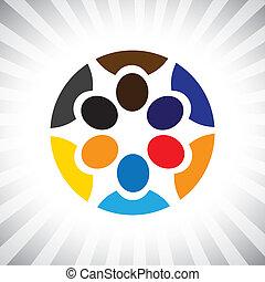 klee, stafmedewerkers, meeting(brainstorm)-, g, team, vector, eenvoudig, bedrijf